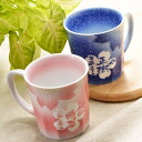 Arita flower makeup with handle mug couple set