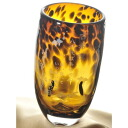 Original handmade glass long tumbler (amber) KOHAKU