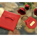 Excellent case present key ring compact mirror ribbon gift set (red)
