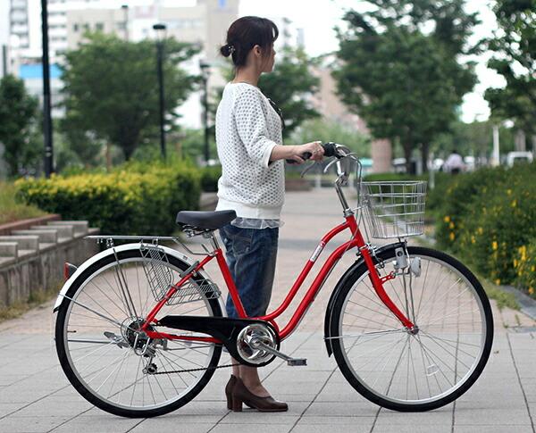 自転車の 自転車 アルミフレーム ママチャリ : 】自転車 26インチ ママチャリ ...