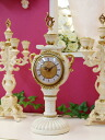 Classic Rococo design clock and candle stand Deluxe 3-piece set