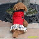 Emblem check skirt one piece / red (XS-XL size) one co-clothes dog clothes dogware 《》
