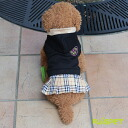 Emblem check skirt one piece / black (XS-XL size) one co-clothes dog clothes dogware 《》