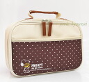 Girl sewing of オープンファスナーバッグ Brown, Snoopy sewing set