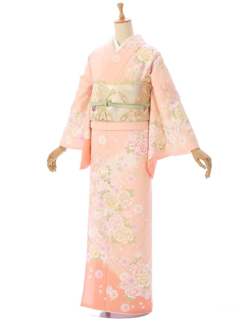 【2L695】【訪問着・付下げレンタル】ピンク地薔薇ブーケ【