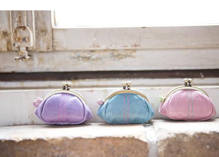 説明【純国産】キュートなキャンディーカラーの口金小銭入れ財布【paccapacca】がま口・レディース・女性用・婦人・革財布・日本製・国産・ガーリー