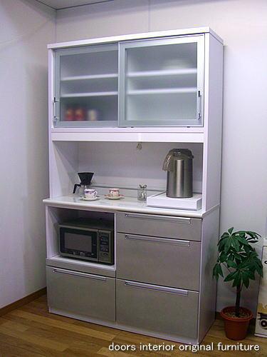 食器棚 アウトレット/120食器棚引き戸モニカ(ホワイト×シルバー)