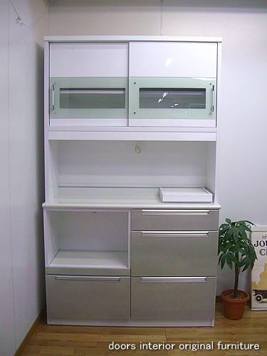 食器棚 アウトレット/120食器棚引き戸レシピ(ホワイト×シルバー)