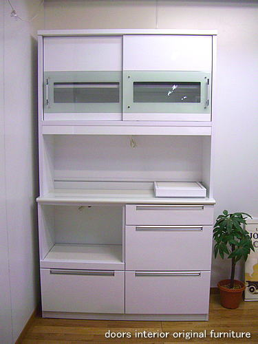 食器棚 アウトレット/120食器棚引き戸レシピ(ホワイト)
