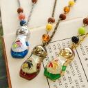 ロングセラーネックレス of impact matryoshka cute smile! Antique textured clear glass GOOD! / Matryoshka / マトリオシカ / マトリオーシュカ / gold gold / silver antique/gold & wood beads and accessories ◆ Matrioshka pendant
