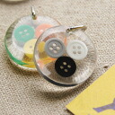 Accessories top small colorful buttons gently snuggle! Original cute セレクトファブリック DrawString bag with ◆ acrylic parts the triple buttons