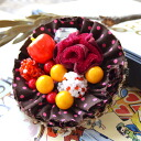 In the fairy tale will be ready to eat apples and mushrooms... cute ♪ amulet original DrawString pouch brooch ◆ aMulet apples and mushroom cupcake 2WAY brooch