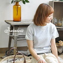 """High quality sweat suits only adult women! Like mélange of charms vintage-look texture size: Harmonic material ' 2 black kite back hair """"short sleeve shirt with ◆ Saintete ( サンテテ ): ハーフスリーブラグラン trainer"""