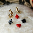 Hart came out as if from the Wonderland and donkey light dancing in her ear!, appeared set to 6 points depending on the combination, many enjoy playing card motif プチピアス ◆ Trump & little donkey earrings