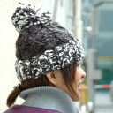 Add a new color! Cute snow powder MIX color big big pom-poms with loosely crocheted Beanie! Essential winter code can be expected effect small face volume was either Hat ◆ ミックスカラーボンボン knit Cap