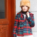 --In the traditional checkered on one side London girl cute! design attention to detail, such as toggle buttons, chest and back belts short coat appeared from the 'ダブルクローゼット' ◆ w closet: タータンチェックショートダッフル Court