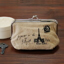 ◆ Eiffel motif pouch porch easily recommended as for the porch which a stamp is casual, and was put of Eiffel Tower harking back to Paris in the natural hemp subject matter not to give glory to by a pouch type opening and shutting as ◎ cosmetics porch an