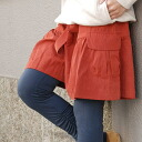 A Kansai girl's style exp.29 publication! The short pants which feature the opening silhouette of the hem such as the skirt! The slightly bigger pocket that a ribbon belt and an expression are changed as for the peach skin place culottes is bottoms ◆ Zoo