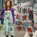 I challenge wazaari coordinates with the long skirt which a patchwork-like paisley design shows a lot of conspicuously! As for the right stylish girl who transforms herself into one piece if I take shirring on the chest, as for the skirt of the taking of