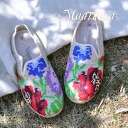 Handmade Lady's shoes of Made In Vietnam which drew a rose to the slip-ons of the natural hemp material by one point of 1 peg embroidery! / sabot sandals style / folklore / opera pump ◆ MAARENCA (マーレンカ): Rose cross-stitching hemp slip-ons