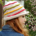 A colorful rainbow horizontal stripe tulip knit cap! ブリムニット hat ◆ TITICACA (チチカカ) which becomes infected with a warm ニットワッチ style with 100% of wool: We peel knit tulip hat