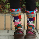Pattern of colorful ethnic charm knit socks! Handmade socks hand-made feeling and Sabot and boots well with knee-high socks ◆ TITICACA ( Titicaca ): カラフルエスニック knit socks
