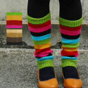 I color the step gorgeously suddenly! Knit socks ◆ TITICACA (チチカカ) where is good to protection against the cold measures by the feel that colorful horizontal stripe leg warmer ♪ is soft light warmly: Casual stripe knit leg warmer