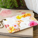 The pass case which has a cute flower opening on news paper! Card case ◆ FLAPPER (flapper) which is convenient for a commuter pass and card storing of commuting, the attending school that a foreign English newspaper and the flower transcription prints su