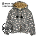 Trainer ◆ NEEDLE WORK SOON (ニードルワークスーン) with the food that the cat pattern of the preparation ♪ vintage texture is cute as for the lady's size for moms: Antique CAT print zip up parka [kids]