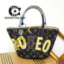 "●●The handbag bag that a felt emblem brand logo of ""RODEO"" where western-like jean shines is cool! In a yellow horse's hoof charm a cactus pattern of the lining handbag bag ◆ RODEO TAILORS (rodeo Taylors) of the accent: Rodeo monogram bucket to"