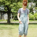 ●●The relaxedly odd length overall which creates the atmosphere that a fresh combination of ゆる bottoms X salopette got better! ◆ natuRAL vintage (natural vintage) excellent at comfort in a thin denim material: Girls light denim salopette