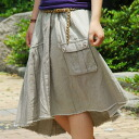A simple color X decorative design! The cotton flared skirt that the reshuffling that is art is wonderful! Asymmetric hemline and bottoms ◆ natuRAL vintage (natural vintage) which gave gathers where the pocket of the accent is individual: Asymmetric design flared skirt