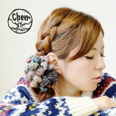 Hair rubber of the BIG size such as the flower arrangement that I arranged with colorful knit! In natural girly-style by all means ◎ / hair accessories / hair arrangement / hairpin / hair ornament / flower / miscellaneous goods / accessory / Lady's ◆ che