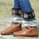 The bulky boots cover that the favorite boots get resurrection cutely! It is accessory ◆ Snow flakes moco moco boots cover in the winter when colorful beads ribbon was pointed as for the leg warmer-like cover of the cute snow pattern folklore design + so