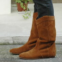 Basic middle boots of the orthodox school suede cloth of the wet feel of a material! Simple design and favorite middle length boots ◆ Noble suede middle boots of the plain collar using the tender good quality suede material in the fall and winter