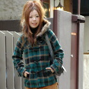 -Short-girly Plaid kimaru well balanced from the tall short Duffle coat! B30b 1 button with 2-WAY long-sleeved short coat removable hood fur ◆ Duffle coat with コーラスチェックファー