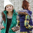 Can be used in 3-WAY down wind best price! Capable of removing the fur from the compact size is easy to wear girls too hood sleeveless jacket ◆ 3-WAY favored batting best