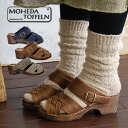 Backstrap sandals 1003/ Wood sole clog sandals / Lady's / shoes / shoes / nature wood ◆ MOHEDA TOFFELN (モヘダトフェール) which was full of naturals of the Wood heel X real leather mesh: Leather mesh Wood sabot sandals [slip-ons]