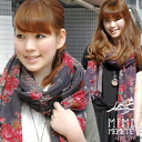 The reversible stall that both real large floral design indispensable in this season and nostalgic small floral design can enjoy! Arrangement cotton shawl ◆ MIMIMEMETE (ミミメメット) of the protection against the cold when it is chilly because it is large size