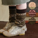 Knee high socks knitted fair Isle pattern season gratuity! Ruffled up and how to wear loose socks style too cute! / Nordic pattern / folklore / Womens socks ◆ ロッキーボーダーオーバーニー socks