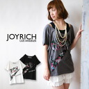 ♪ / short sleeves cut-and-sew /Rich Logo Big Tee JOY-F1114BT ◆ JOY RICH (Joey Rich) which packed a logo of a lot of senses of fun with classical floral design of the JOYRICH familiarity: Antique flower RICH logo tunic T-shirt