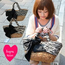 Sweet spicy and not too natural within the adult animal pattern basket bags and cotton in fabric & Pocket dated / quilting / straw bag wind / Safari / Leopard print bag Leopard ◆ Lara &Heart (ララアンド heart): アニマルキャンバスキルティングリボンカゴ bags