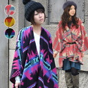 Folklore pattern blanket would wear! Protean BIG stall! Cuts deeply until the scarf Cape stole asymmetric deformation tops, ethnic-inspired dress / native / ethnic / rug(hizakake) / knee hung ◆ ortegaslitblunketponcho