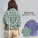 Half-length sleeve shirt blouse ◆ Browns General Store (Browns general store) where features the slow silhouette such as checked pattern and the dolman sleeve of the ♪ sign of spring with the arrangement button which can thin width of the body, a feeling