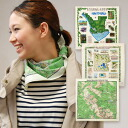 The feeling is a nature guide of USA! The large size handkerchief that a real map print is novel! As wear petty people such as interior, a scarf or the bag charm! ◆ national park map bandana made in pattern development / U.S.A. excellent at the impact th
