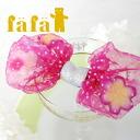 Transparent floating like a flocked dot pattern race Ribon biglibomponey! take your bag or jacket • hair arrangement / / Japan-/HotPink ◆ fafa ( fe'ee ) :VERA alohapeace fluffy Ribbon hair clip [Pink]