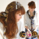 The arrangement such as a gorgeous silk style shawl ♪ Afghan stall style of the large size size like heart pattern ♪ girl taken in in a chain pattern set up casually, a tie, a bandana is various! It is ◆ heart chain satin scarf to the hair accessories su
