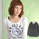 Long sleeves T-shirt to see with one piece smartly is this! Mix-and-match must-have item / American casual ◆ PRECIOUS emblem slab Ron Tee of the daily to be able to fully enjoy a lady's feeling of cut-and-sew ♪ slab and translucency of the on the small s