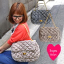 Large chain bag spring & summer materials! Gingham check pattern quilt fabric for season x gold chain ◆ Lara &Heart (ララアンド heart): ギンガムチェックキルティングチェーンショルダー bags