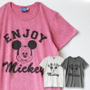 "A print ユーズド-like to soft cloth worn like face print ♪ girl of Mickey that a letter of ""ENJOY"" was described in a logo style. The short-sleeved cut-and-sew / disney /Disney ◆ ENJOY MICKEY T-shirt which a color with full of a feeling of marbled"